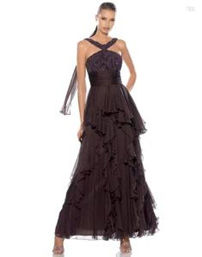 Pronovias Cóctel 2010 - Alga, vestido largo marrón en gasa