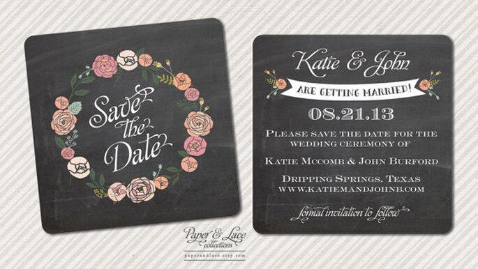 Pizarra miniatura Save the Date. Diseño de Paper & Lace Invitations. Foto: www.etsy.com