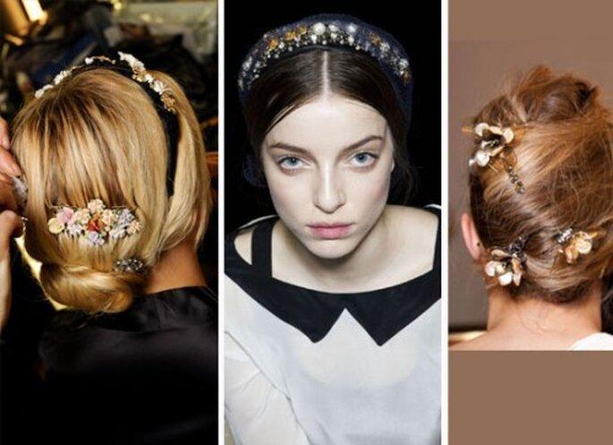 Bijoux de cheveux : les pierreries sont à l'honneur. De gauche à droite : peigne et serre-têtes de Dolce & Gabanna, pinces de Tony Burch