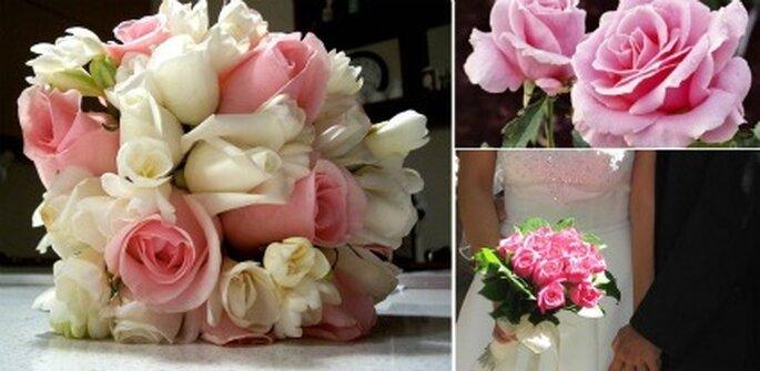 Blanco y rosado    fotos: rosas blanco con rosado de Sailor Coruscant y ramo de novia Rosado de Cherry Pi