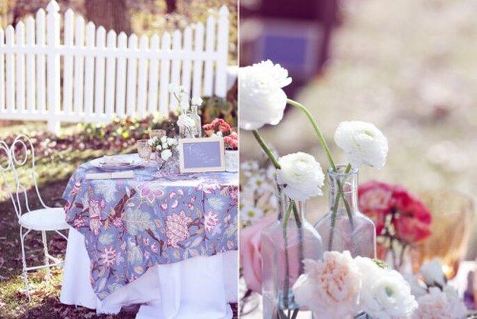 Tovaglie stampate per banchetti di nozze vintage/green. Foto: leblogdemadamec.fr