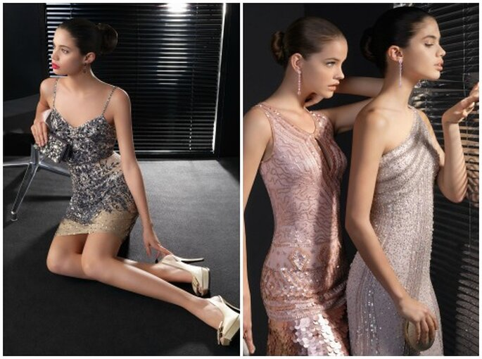 Stupendi questi abiti incrostati di cristalli firmati Two by Rosa Clarà 2013. Foto www.rosaclara.es