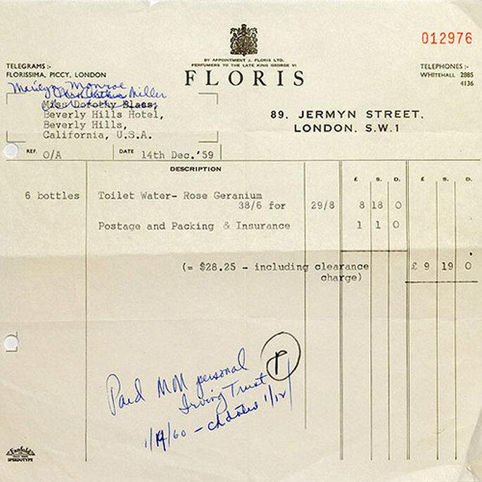 La factura a nombre de Marilyn Monroe, recientemente descubierta en los archivos de Floris. Foto: Floris