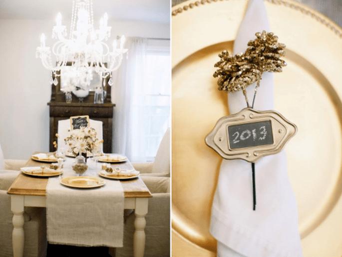 Decoración de boda en colores negro,blanco y dorado. Fotografía ALEA LOVELY
