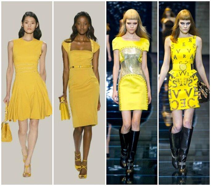 Abito giallo e corto, un must dell'Estate 2012. Da sinistra Elie Saab Pret a Porter PE 2012 e Versace Collezione AI 12-13.