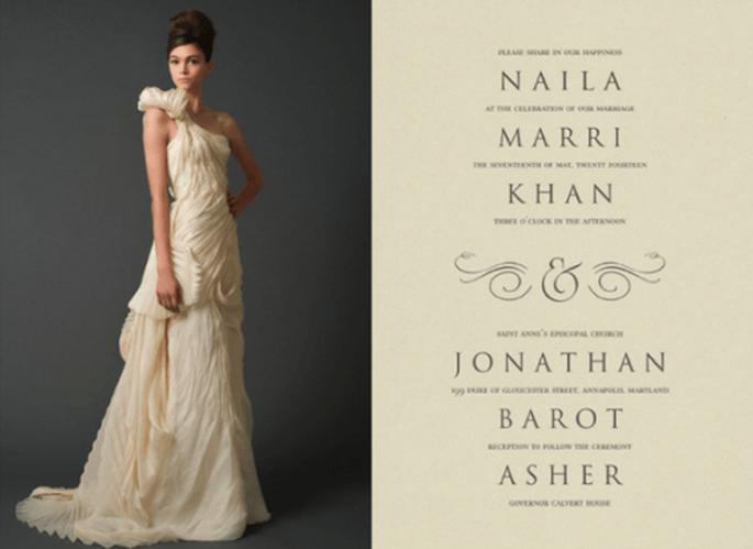 Invitación de boda inspirada en el modelo Gwendolyn - Foto Vera Wang