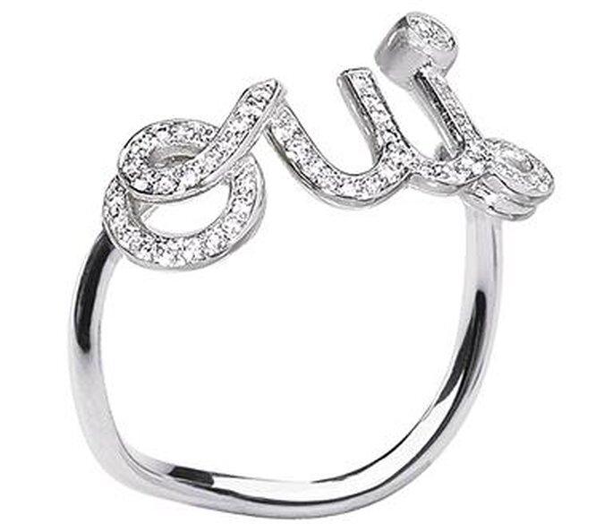 Anello Oui, in oro bianco e diamanti