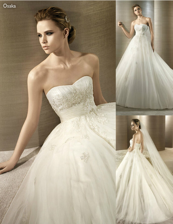 Vestido de novia strapless con brillantes incrustados - Foto: Atelier Diagonal