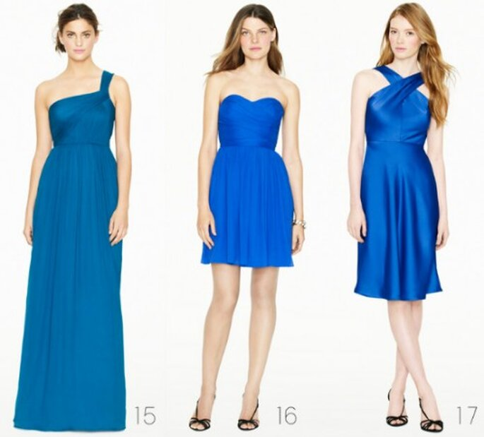 Vestidos elegantes para dama de honor en color azul rey - Foto: J.Crew Bridesmaid Collection