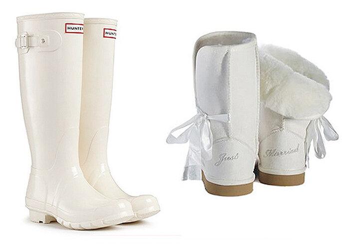 Botas en color blanco, de Hunter y UGG