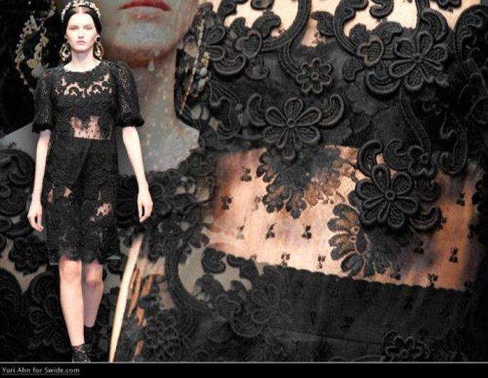 Schwarze Spitze kombiniert mit pompösem Schmuck! Au der neuen Kollektion von D&G 2012/2013 Foto: Dolce Gabbana 2013 - Oficial Fan Page