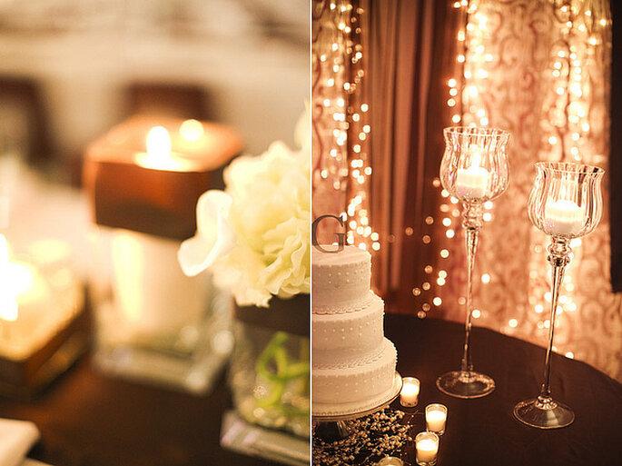 El ponqué de boda también es un elemento decorativo del salón de recepción. Foto: Gabriel and Clarin Photography