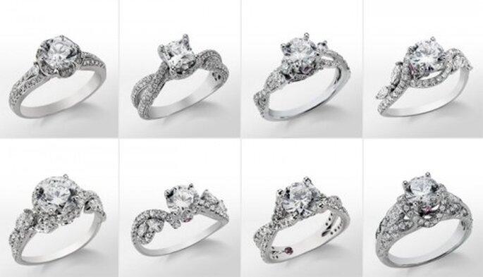 Coleccion romántica de anillos de compromiso de Monique Lhuillier - Foto Blue Nile