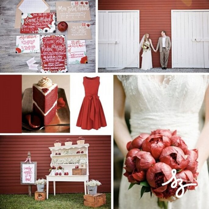 Detalles elegantes en color rojo para tu boda - Foto greenweddingshoes.com, polkadotbride.com, wedandthecity.blogspot.fr, revel-blog.com - Diseño de Raisa Torres para SZ Eventos