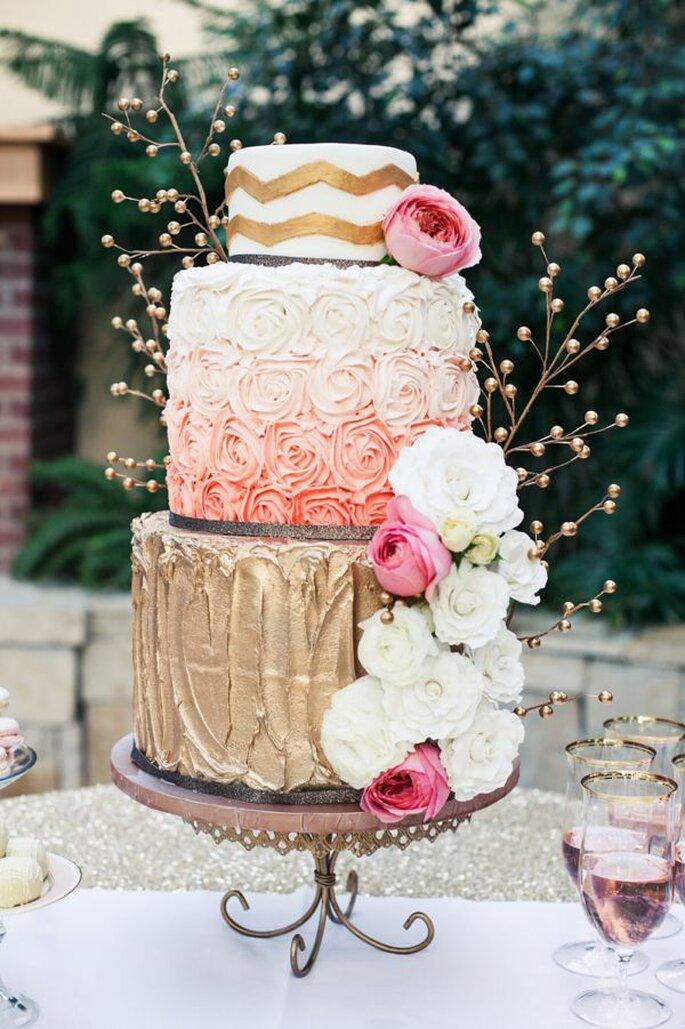 Pasteles de boda multicolor para 2014 - Foto Alyssia Photography