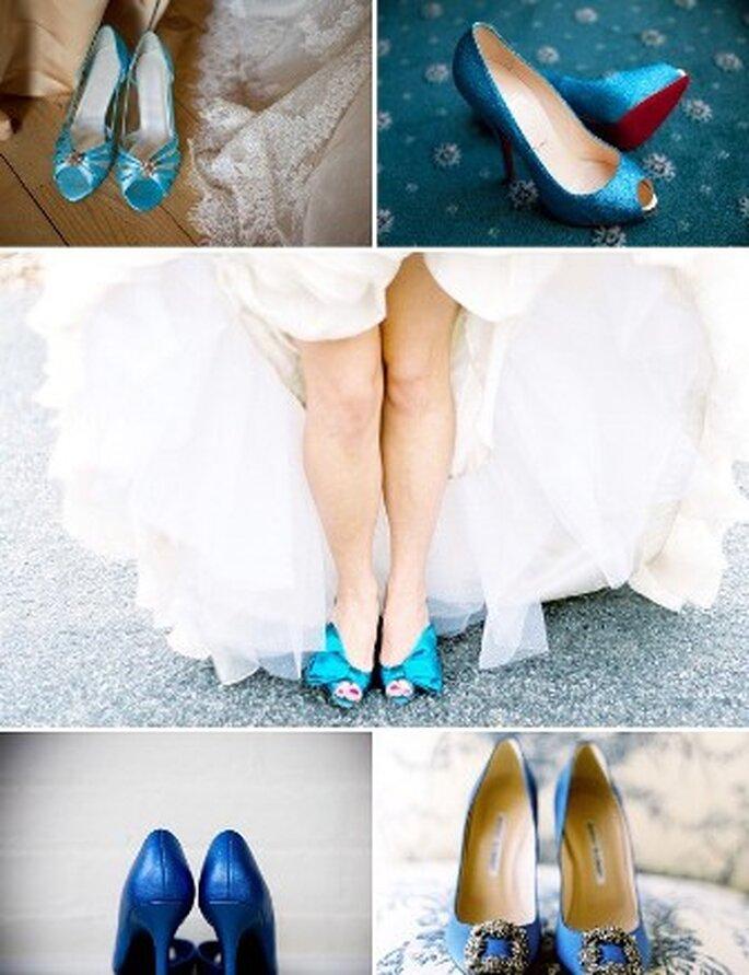 Zapatos de novia en azules