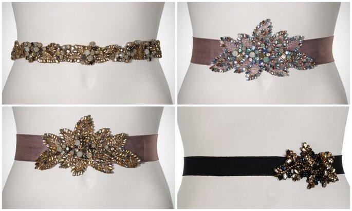 Cinturones adornados con cristales brillantes en colores variados de Jenny Packham. Fotos: www.jennypackham.com