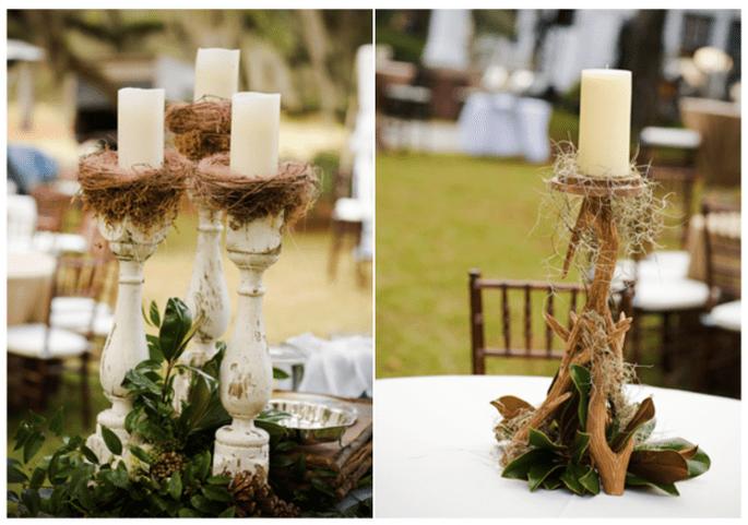 Velas y troncos como propuesta para una boda rústica - Foto Wooden Fields Photography