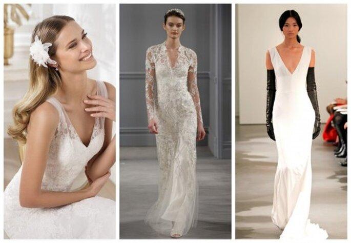 Vestidos de novia con escote en V - Fotos: Pronovias, Monique Lhuillier y Vera Wang