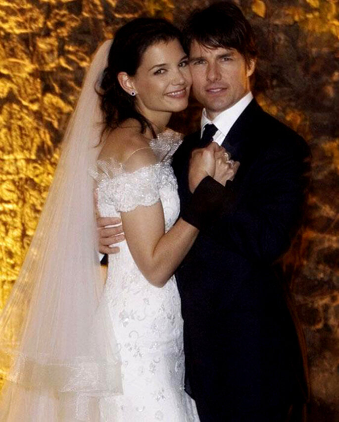 El vestido de novia de Kati Holmes tenía incrustaciones de swarovsky. Diseñado por Armani