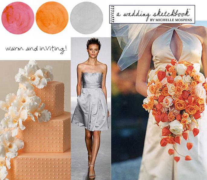 kolory na ślub pomarańczowy i szary