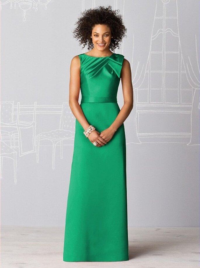 Vestido largo en color verde esmeralda para dama - Foto Dessy