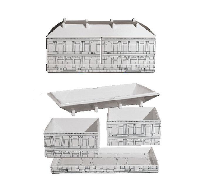 Palazzo Ducale by SELAB e Alessandro Zambelli. Set 8 contenitori multiuso con vassoio in porcellana e alluminio No_body, Thomas Ballarini per Seletti. Foto: Seletti