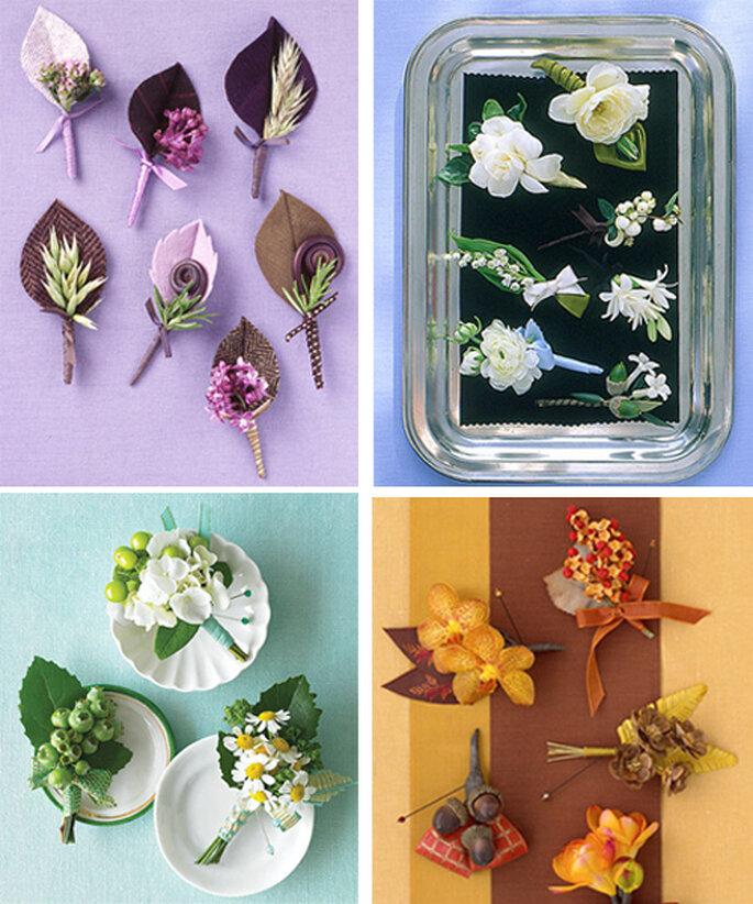 Boutonnieres originales para hacerlos tú misma - Foto Martha Stewart Weddings