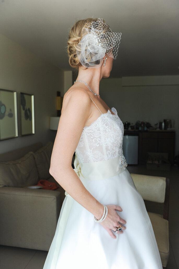 Tendencias 2014 en tocados para novias. Foto: Clau Art Photography