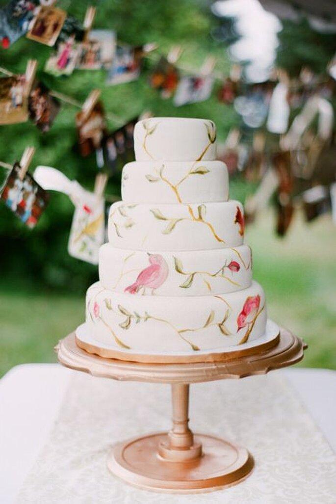 Pasteles de boda pintados a mano - Kelli Hunt Photography