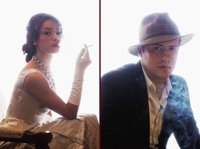 Pareja de novios con un estilo de los 50's - Foto Maria Velarde