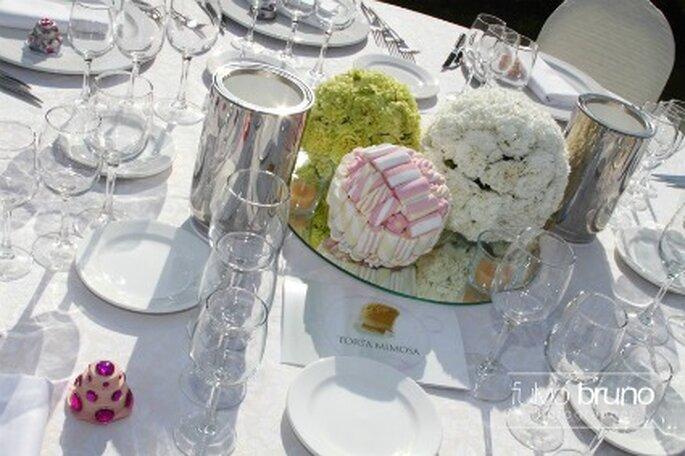 Un dettaglio della tavola allestita per il ricevimento di nozze di Federica e Alessandro. Foto di Fulvio Bruno