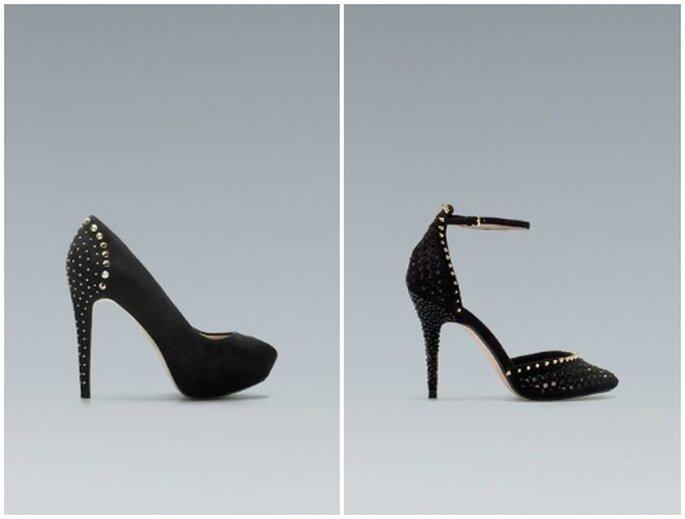 Il nero è il colore più amato per le scarpe da sera...anche quelle con le borchie! Foto: www.zara.com