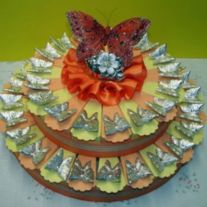 Torta Bomboniera con farfalle argentate