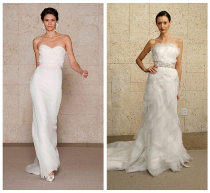 Vestidos de novia palabra de honor de Óscar de la Renta 2012