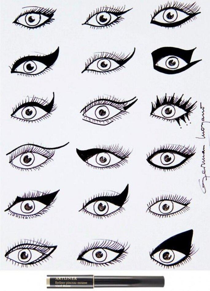 Es gibt viele Formen für Katzenaugen, die Sie mit dem Eyeliner schminken können – Foto: Lancome Make up Blog via Facebook
