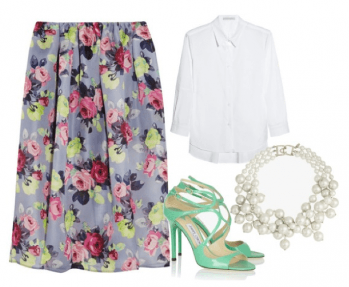 falda de Carven, blusa de Victoria Beckham, zapatos de Jimmy Choo y collar de Kenneth Jay Lane