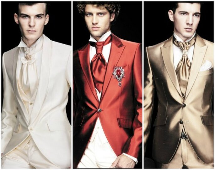 """Tre proposte """"alternative"""". Il bianco è perfetto per una cerimonia sulla spiaggia,rosso e oro alla grande di sera. Carlo Pignatelli Cerimonia. Foto: www.carlopignatelli.com"""