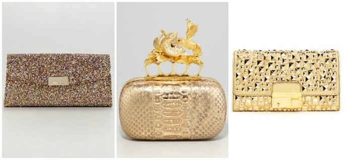 Tre proposte gold. Da sinistra: Jimmy Choo, Alexander McQueen, Michael Kors. Foto: www.neimanmarcus.com