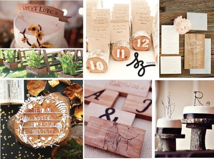 Decoración de boda con detalles de madera - Foto Lovethisdayevents.com, Heartsonevintagerentals.com y designsponge.com
