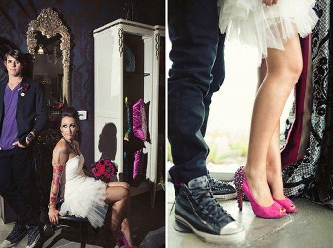 rockowe buty ślubne z ćwiekami
