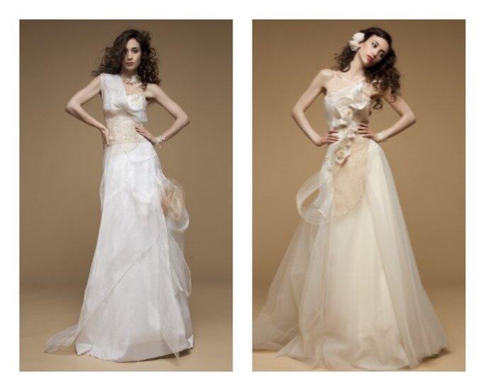 Robes de mariée Elsa Gary 2013. Modèles Bois de Rose et Epice de la collection Glamour. Photos: Elsa Gary.