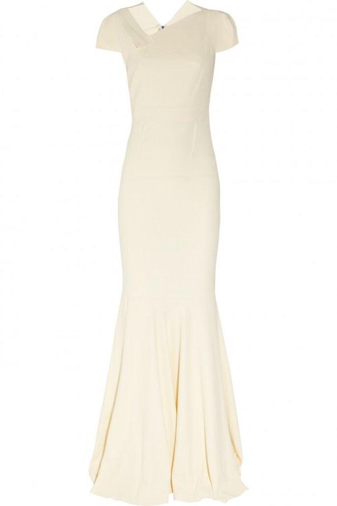 Vestido de novia otoño 2013 con silueta ceñida, caída elegante, escote discreto y con acabado asimétrico - Foto Net a Porter