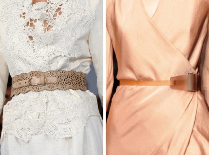 Cinturones que combinen con el outfit de invitada de boda - Fotos Oscar de la Renta y Donna Karan