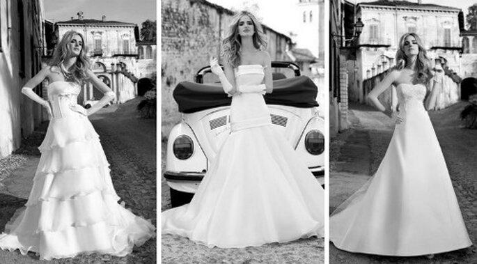 Tre modelli semplici e che esaltano la naturale bellezza della sposa. Collezione 2012 Nicole Spose
