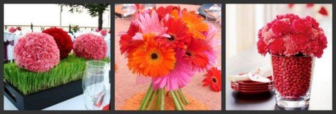 Centres de table fleuris colorés