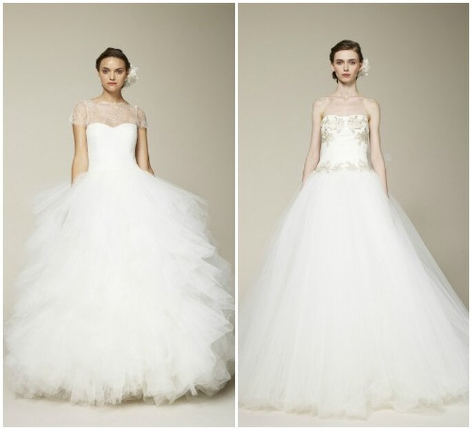 Da vera principessa questi abiti con gonna in tulle di Marchesa Bridal Collection 2013. Foto www.marchesa.com