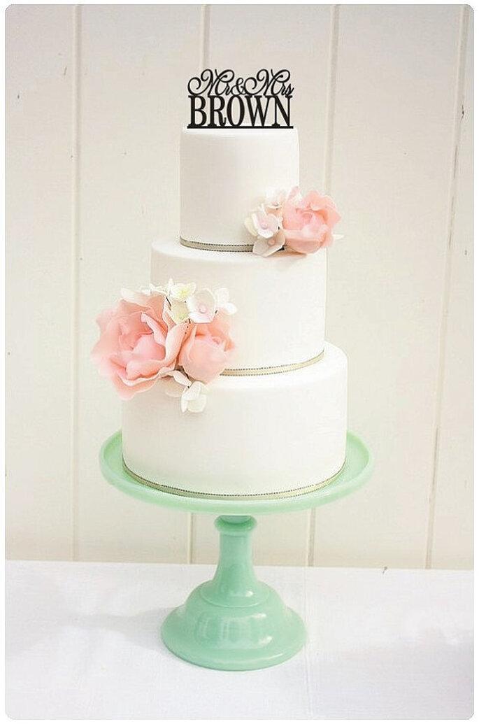Cake Topper Mr y Mrs. - Foto Etsy