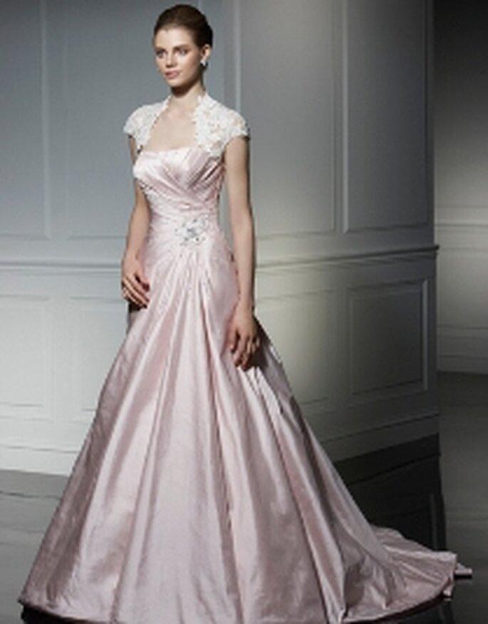 Vestido rosa con encaje - Anjolique 2009