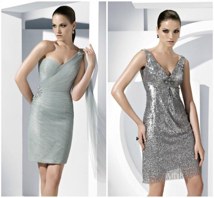 Elegantes vestidos cortos para invitadas a bodas en color plata. Foto: Pronovias